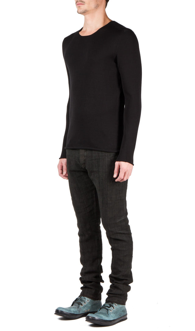 Label Under Construction Slanted Seams Sweater In Black