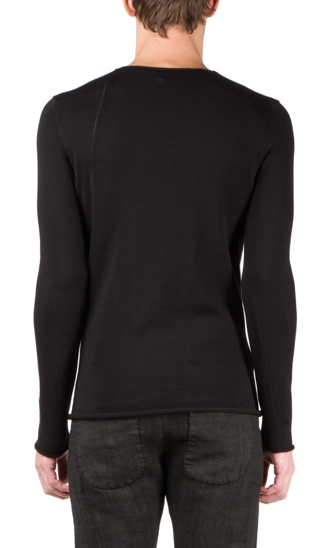 slanted seams sweater in black