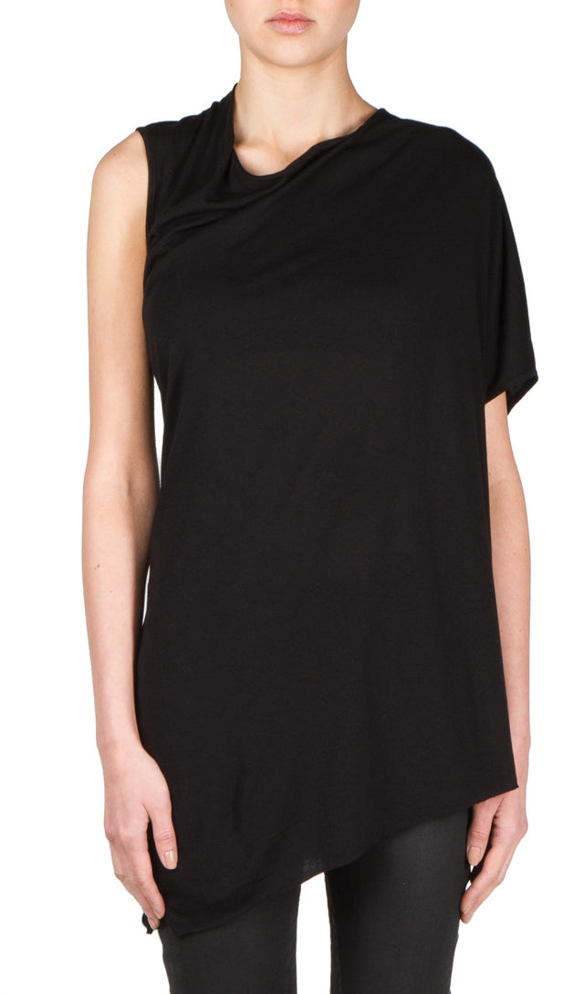 twist drape top in black