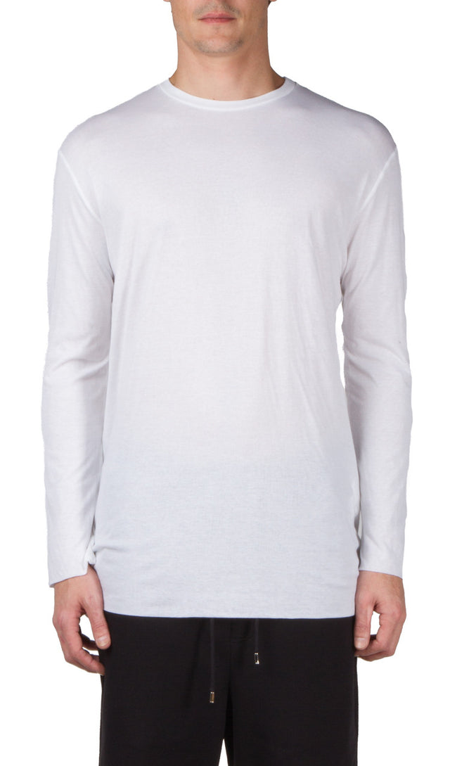Thamanyah long Sleeve Doublelayer T-Shirt In White