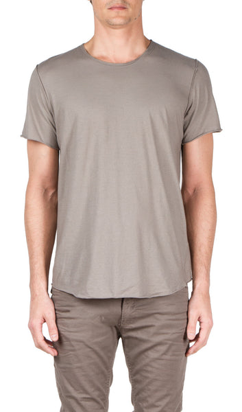 ss back seam t-shirt in grey