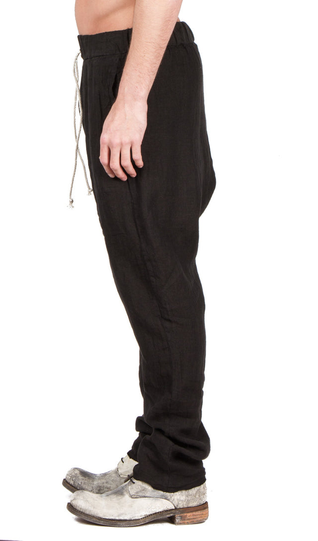 drop crotch pant in black