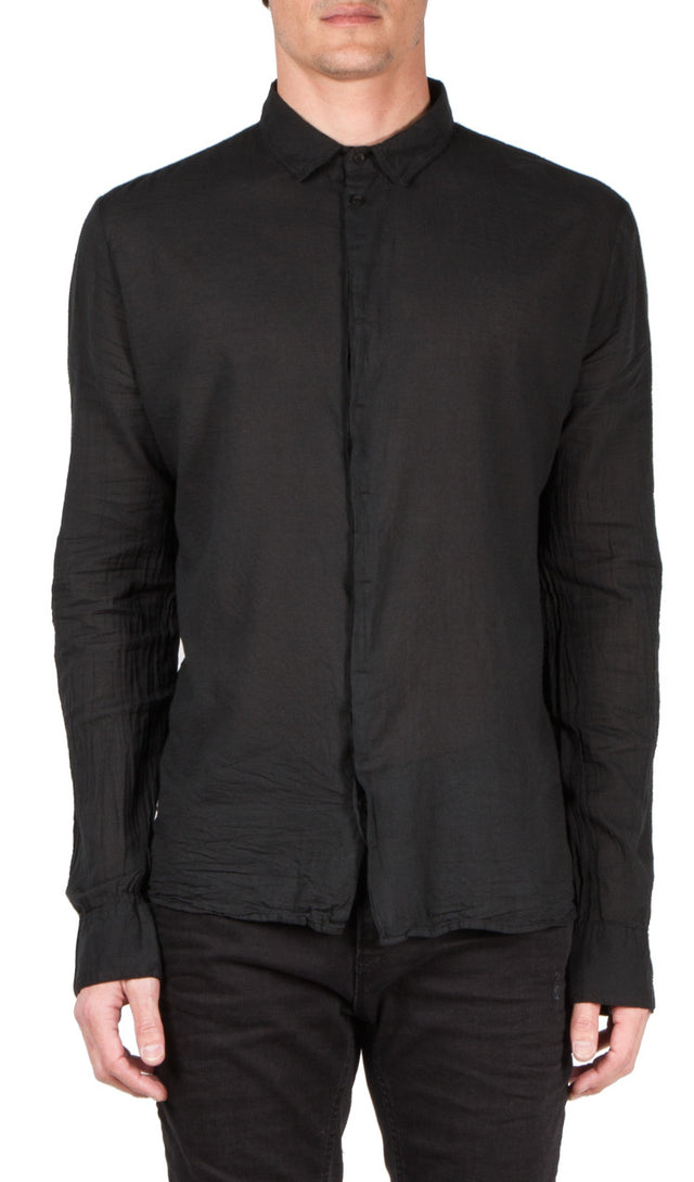 black hidden placket shirt