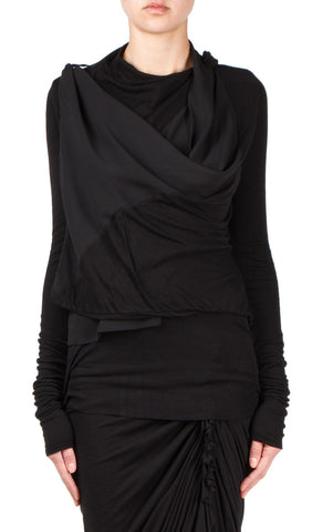 long wrap sweater in black
