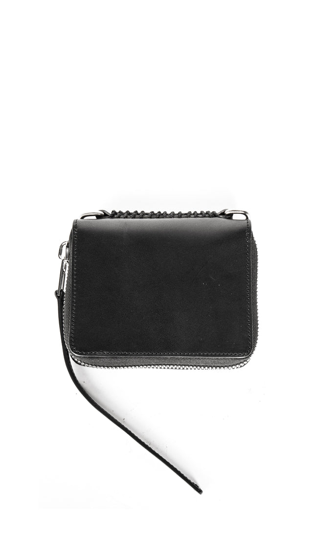 zipped leather wallet in black