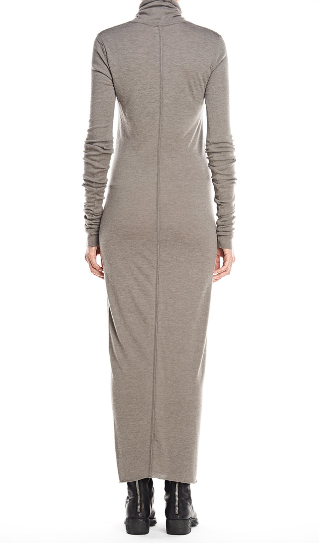 Rick Owens Lilies Abito Dress Turtleneck In Drkdust