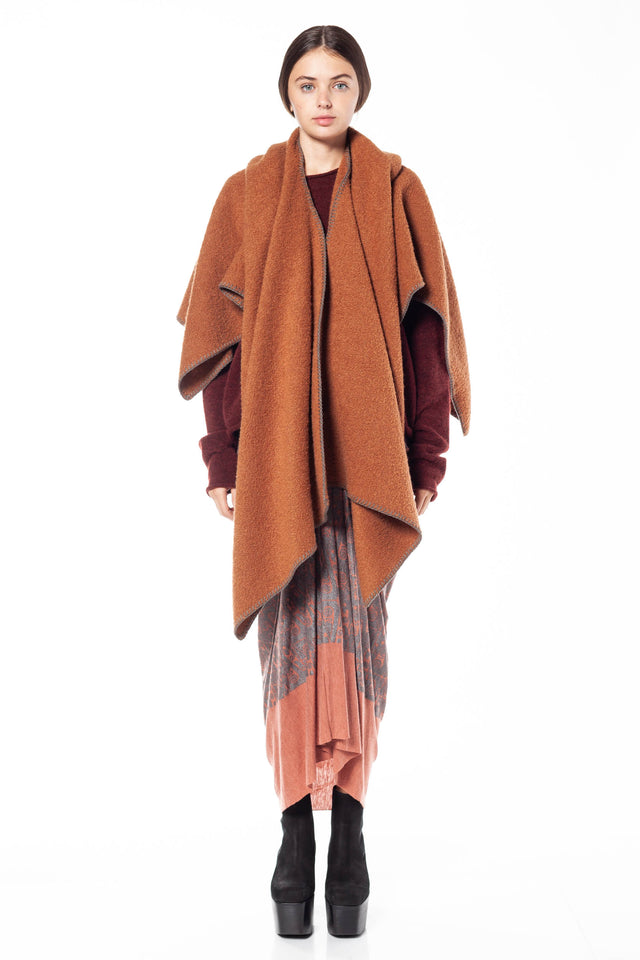 Rick Owens Double Cape In Rust