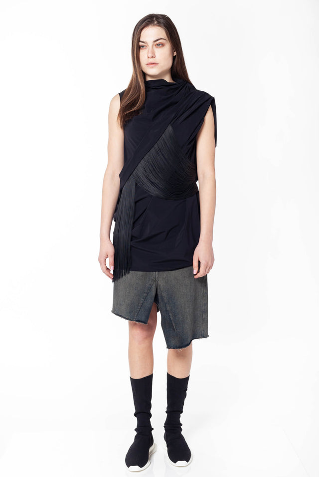 Rick Owens Fringe Top 2 in Black
