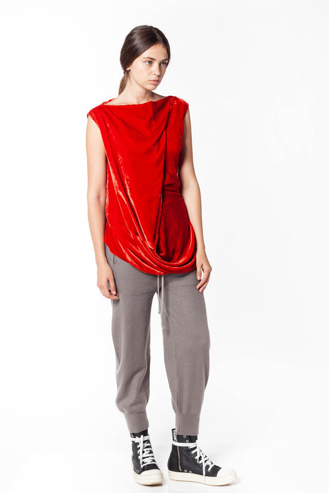 Rick Owens Slash Neck Top In Cardinal Red