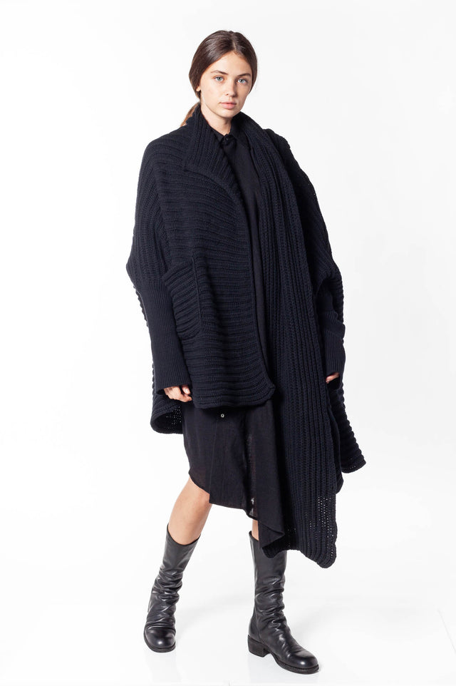 Forme D'Expression Scarfed Knit Cape
