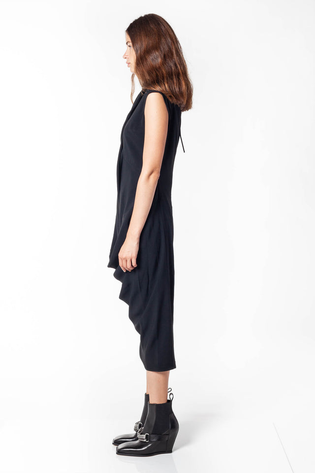 Rick Owens Slash Neck Ellipse Dress In Black