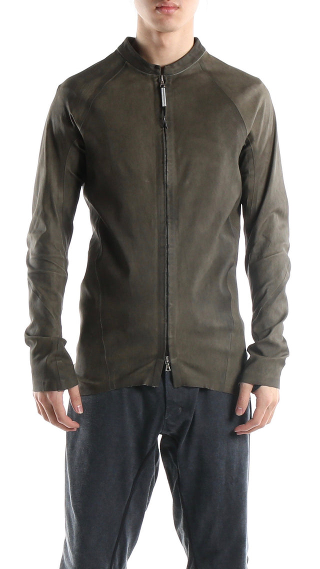 Isaac Sellam Arpenteur Leather Jacket in Kaki