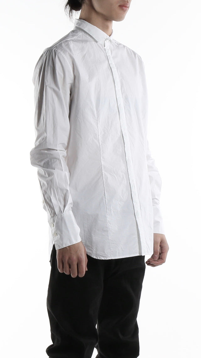 Forme d'expression High Collared Dress Shirt In White