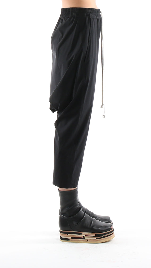 Rick Owens Drawstring Cropped Woven Pants in Black