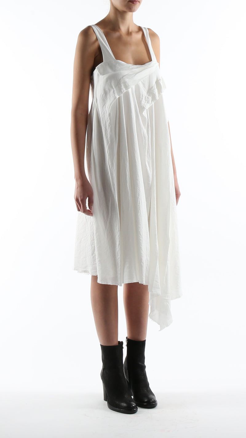 Forme d'expression Tuck and Drape Dress In White