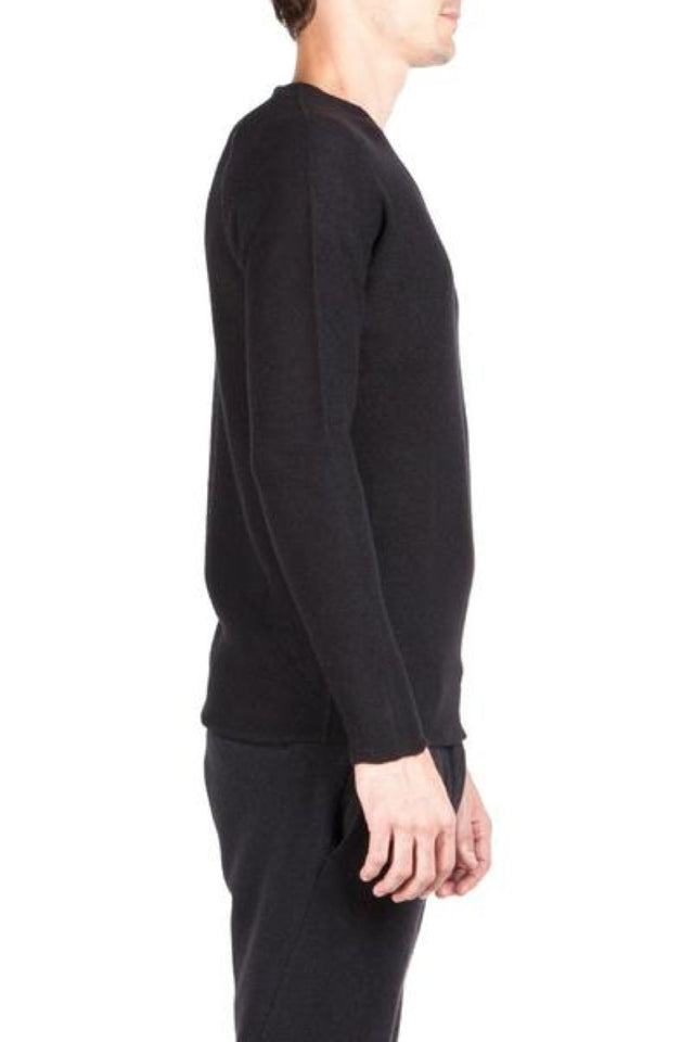 Label Under Construction Flat Seam Sweater In Black