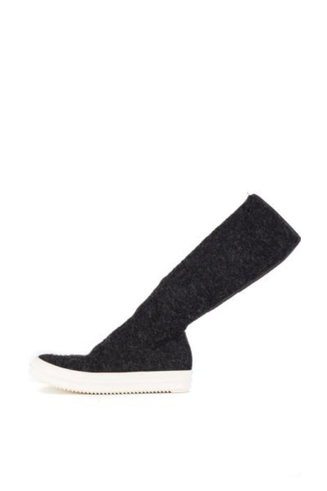 Rick Owens Drkshdw Vegan Sock Sneaks in Anthracite/Milk Sole