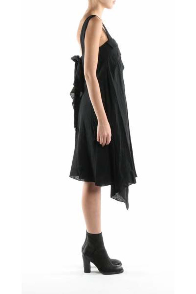 Forme d'expression Tuck and Drape Dress In Black