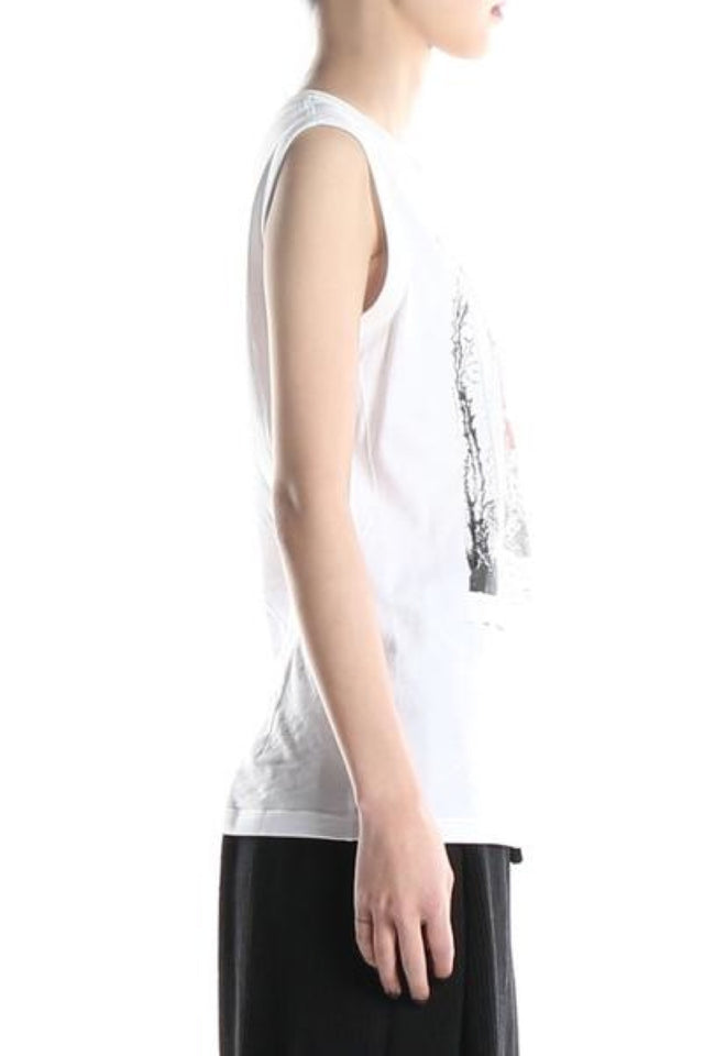 Ann Demeulemeester Unicotton Print Top In White