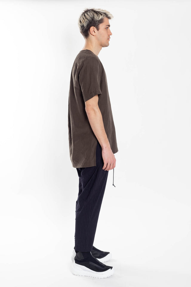 Attachment Woven T-shirt in Khaki Grey