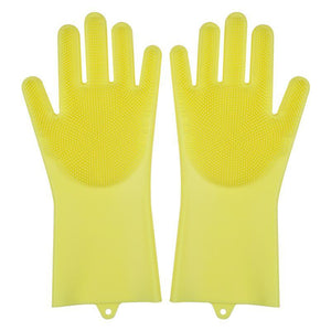 New Silicon Gloves with Cleaning Brush for Kitchen Wash and Housekeeping