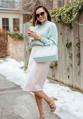 Jackie the Cubicle Collections teal sweater pink skirt fashion outfit of the day