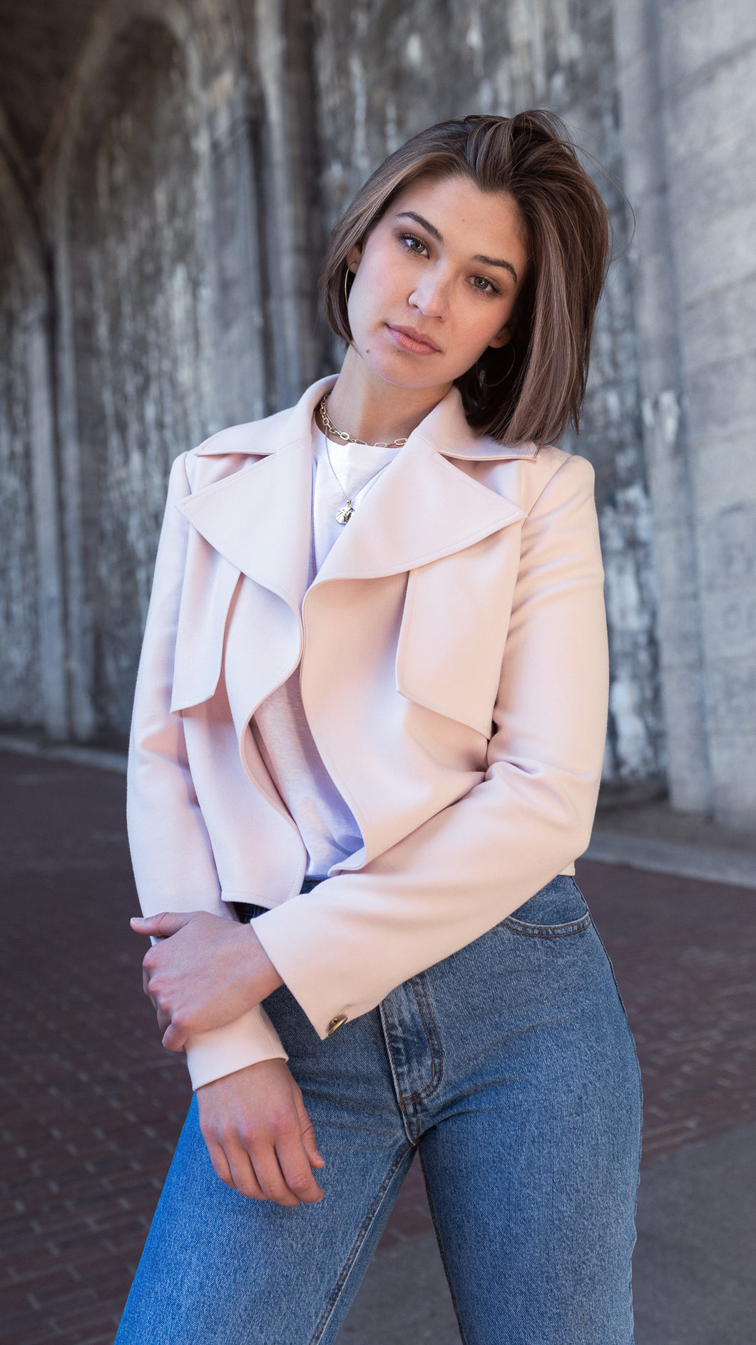 ixora apparel aline cropped trench jacket pink