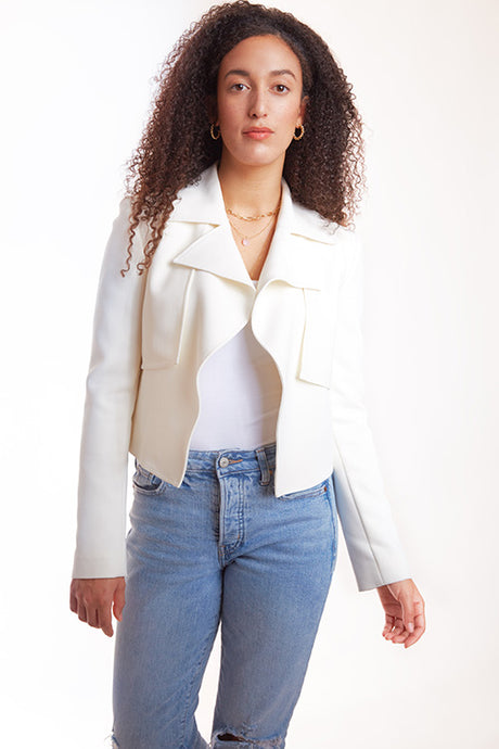 ixora apparel aline cropped trench jacket white