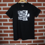 Load image into Gallery viewer, Leaning Towards Success Black Round Neck Typography T-Shirt