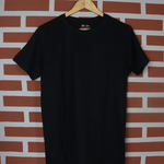 Load image into Gallery viewer, Black Short Sleeve Solid Round Neck T-Shirt