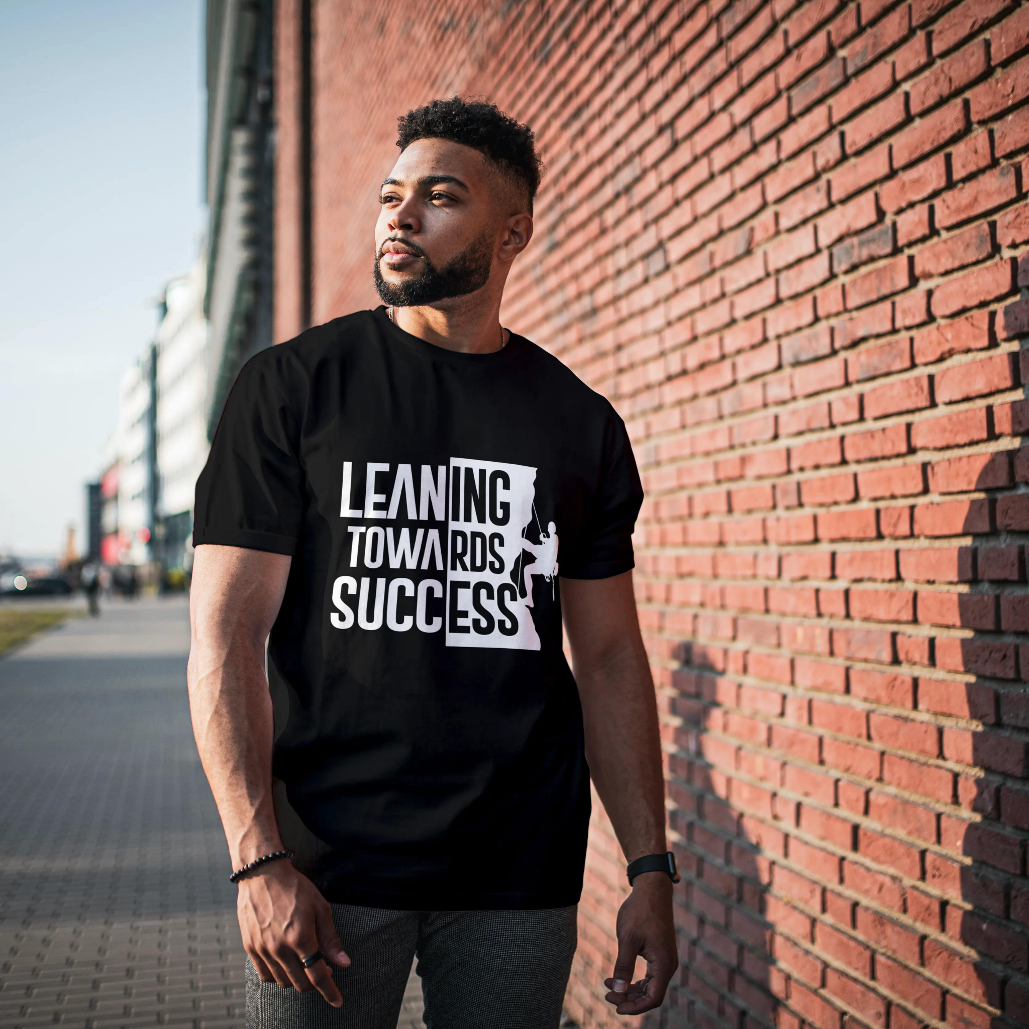 Leaning Towards Success Black Round Neck Typography T-Shirt