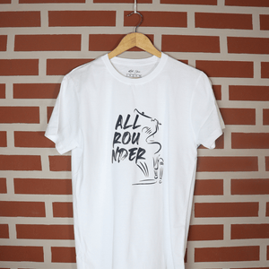 All Rounder White Round Neck Typography T-Shirt