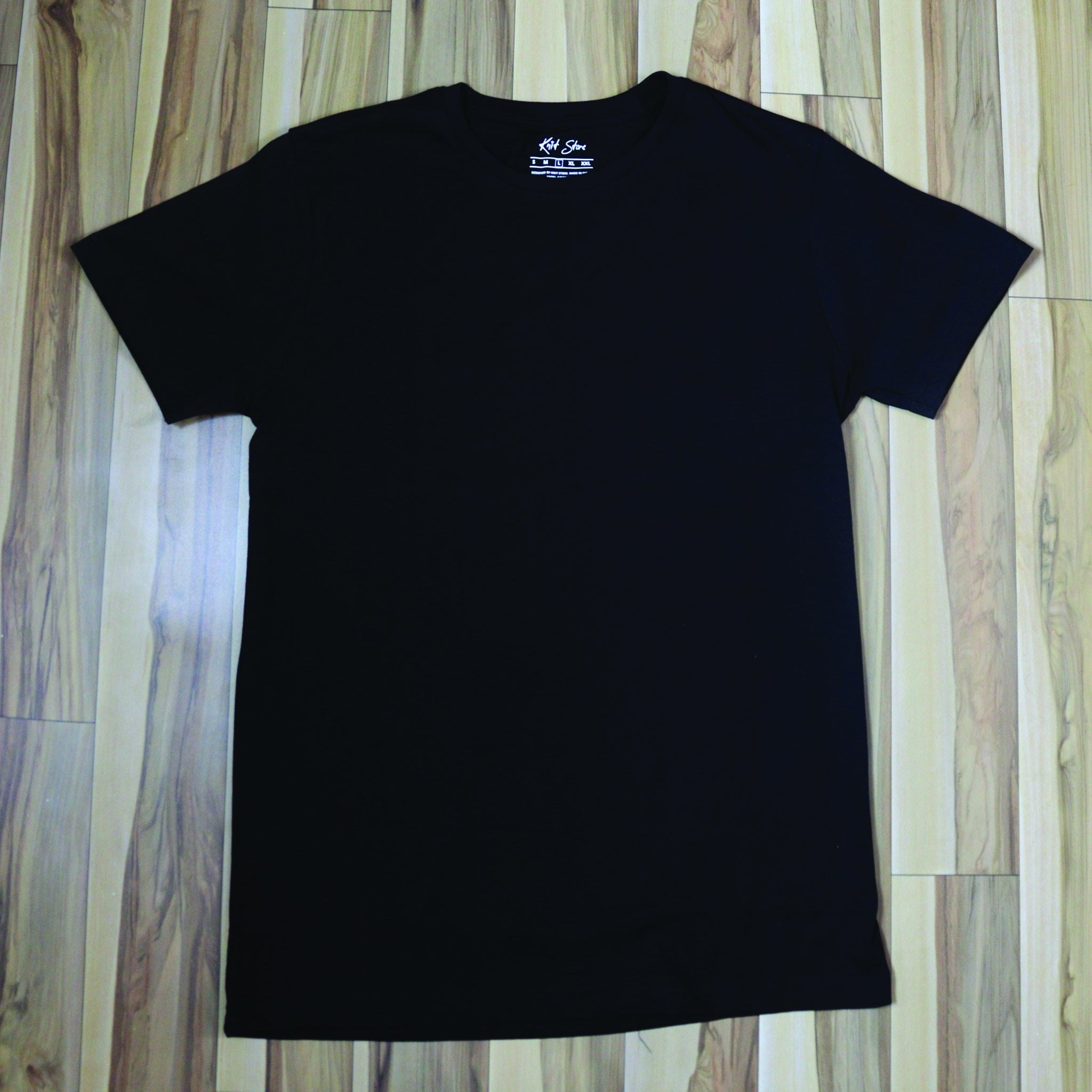 Black Short Sleeve Solid Round Neck T-Shirt