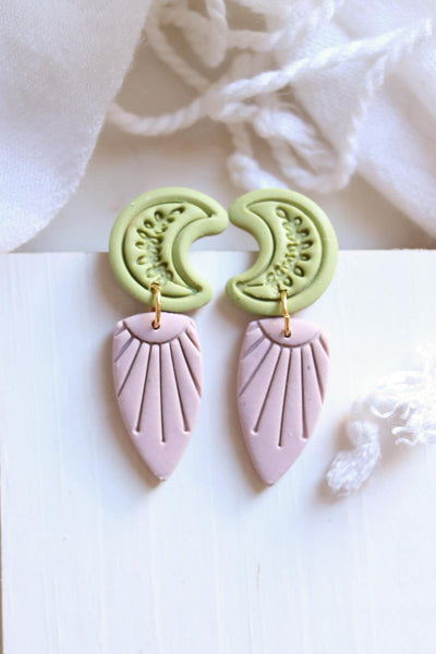 Canyon Moon Earrings in Mauve and Green - Petal & Posy