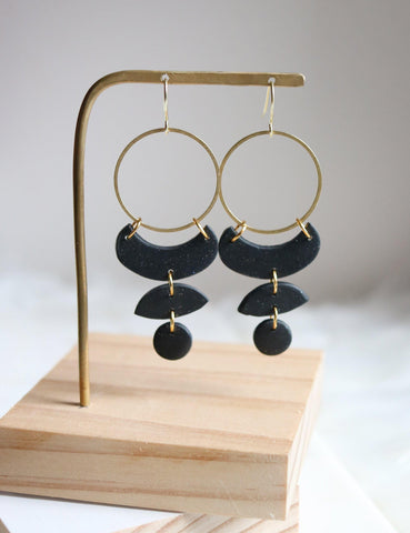 Moon Cycles in Cosmic | Raw Brass Matte Black Micro Glitter Polymer Clay Hoop Earrings - Petal & Posy