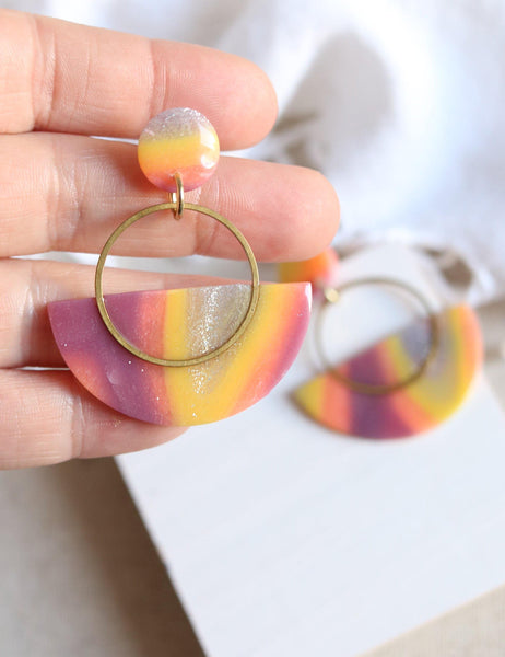 Double Rainbow Swing Hoops - Petal & Posy
