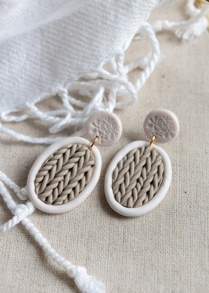 Sweater Weather | Taupe and Ivory | Nickel Free | Cable Knit Polymer Clay Stud Earrings - Petal & Posy