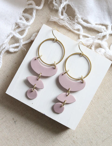 Moon Cycles in Desert Rose | Raw Brass Nude Pink Hoop Earrings - Petal & Posy