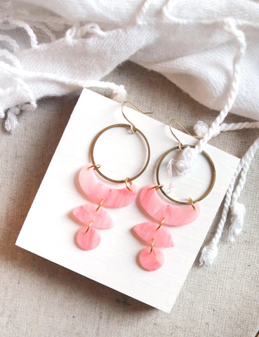 Moon Cycles in Rose Quartz | Raw Brass Pink Polymer Clay Hoop Earrings - Petal & Posy