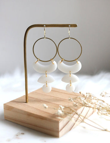 Moon Cycles in Snow | Raw Brass Sparkling White Polymer Clay Hoop Earrings - Petal & Posy