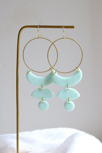 Moon Phases Earrings - Mint