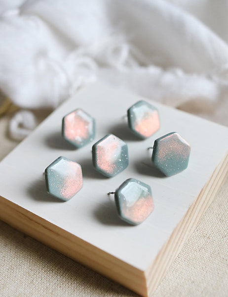Neptune Earrings | Muted Teal Peach Gold Duochrome Hexagon Polymer Clay Studs - Petal & Posy