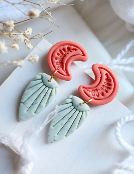 Canyon Moon Earrings in Coral and Mint - Petal & Posy