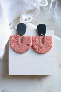 Telluric Earrings - Coral and Navy - Petal & Posy
