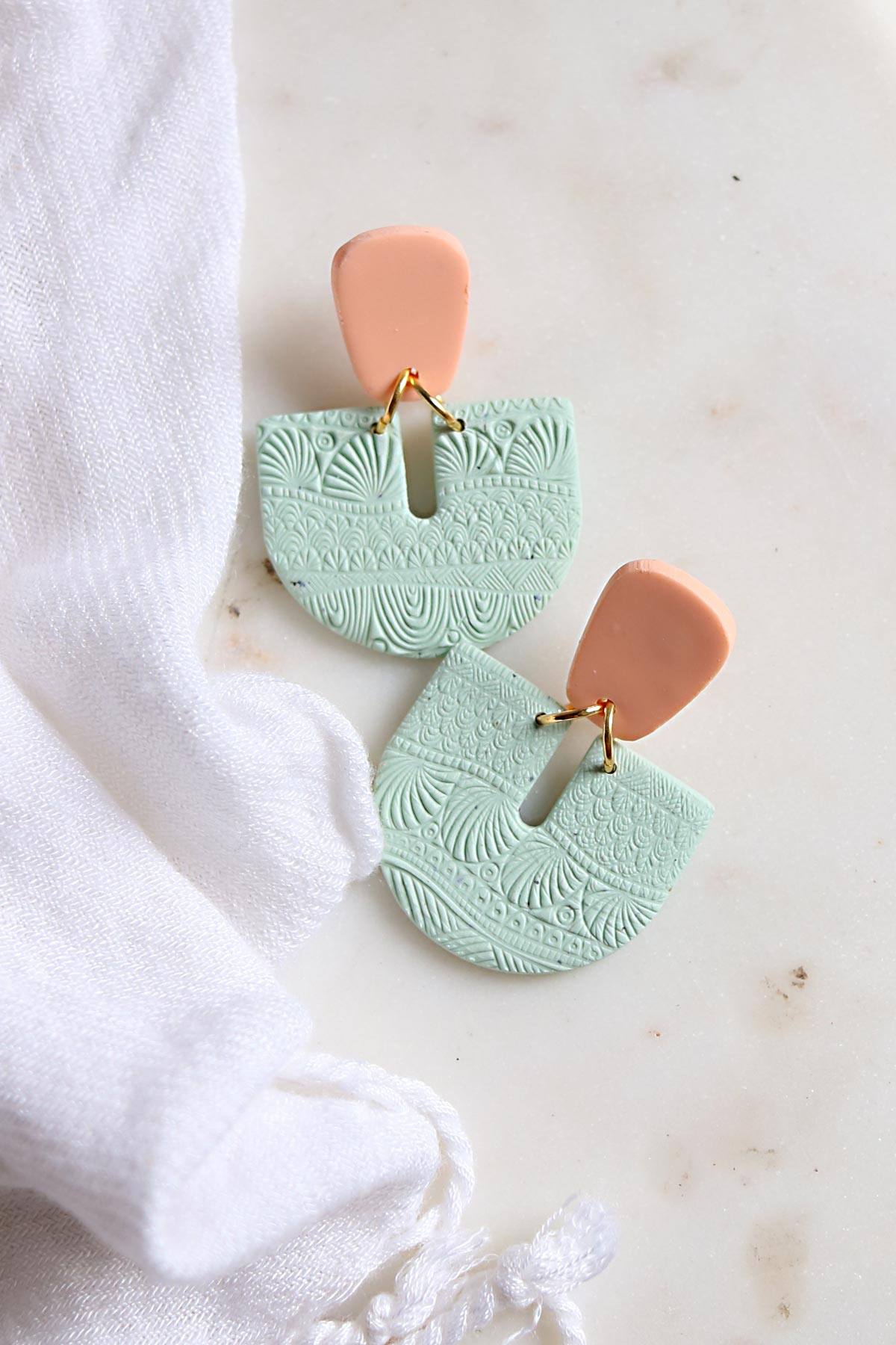 Telluric Earrings - Mint and Peach