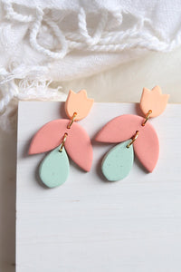 Tulip Earrings in Peach, Coral and Mint - Petal & Posy