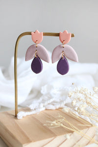 Tulip Earrings in Coral, Mauve and Purple - Petal & Posy