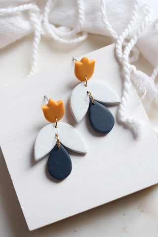 Tulip Earrings in Yellow Grey and Navy - Petal & Posy