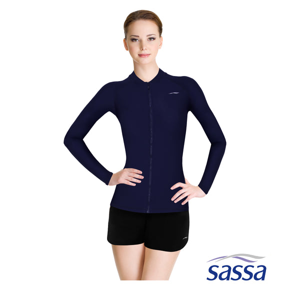 Essentials Long Sleeved Zip-up Rashguard with UPF 50