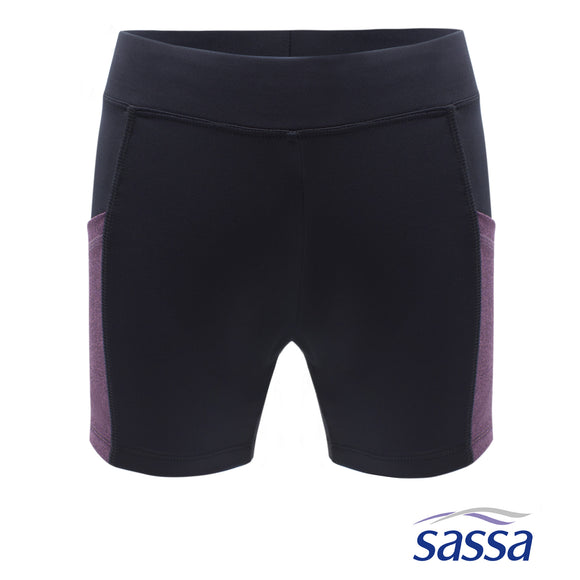 Floral Fusion Skin-Fit Shorts with Violet Side Pockets